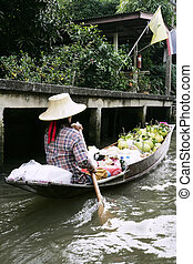 thai, kobieta, łódka