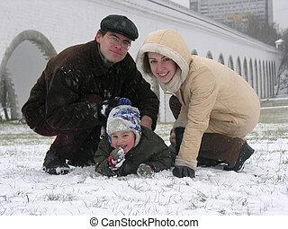 three., snow., rodzina
