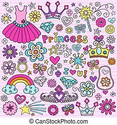 tiara, komplet, księżna, doodles, notatnik