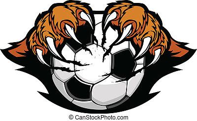 tiger, chwyta w szpony, piłka do gry w nogę, wektor