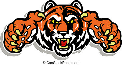 tiger, chwyta w szpony, twarz