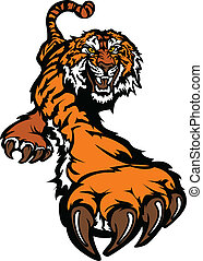 tiger, ciało, maskotka, graficzny, poszukujący zdobyczy