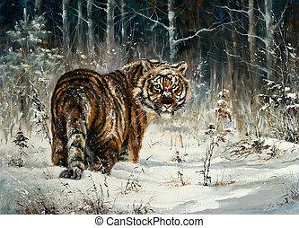 tiger, drewno, zima