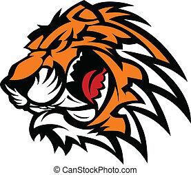 tiger, graficzny, maskotka