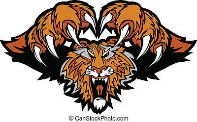 tiger, logo, maskotka, graficzny, dziurawienie
