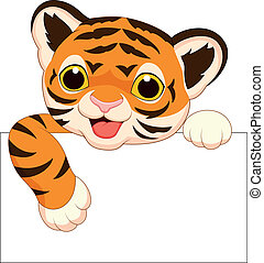 tiger, sprytny, czysty, rysunek, znak
