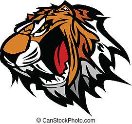 tiger, wektor, maskotka, graficzny