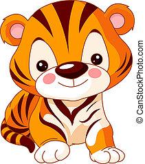 tiger, zabawa, zoo.