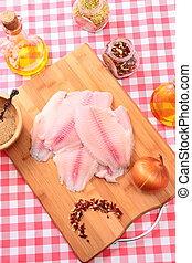tilapia, fish, surowy, cięcie deska, przyprawy