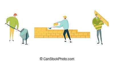 timber., wzruszający, cegły, transport, set., konkretny, litery, kładąc, pracownicy zbudowania