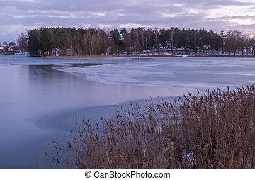 time., piękny, wieczorny, zima, jezioro, krajobraz