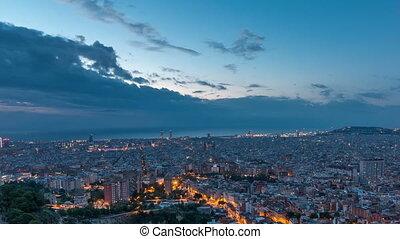 timelapse, panorama, noc, barcelona, obejrzany, bunkry, hiszpania, dzień, carmel