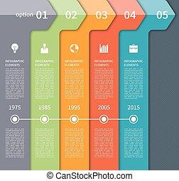 timeline, nowoczesny, strzała, elementy, infographics
