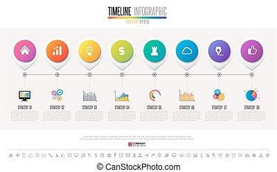 timeline, projektować, szablon, infographics