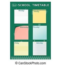 timetable, ołówek, szkoła, zielony