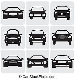 to, kolor, luksus, graphic., przeciw, symbolika, bok, konwencja, view-, icons(signs), wektor, przód, wóz, ilustracja, czarne tło, wyobrażenia, biały, car's, dziewięć, pasażer