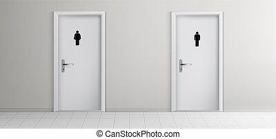 toaleta, drzwi, realistyczny, wektor, korytarz, publiczność