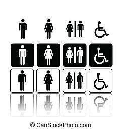 toaleta, kobieta, znaki, człowiek