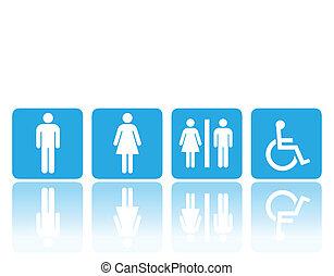 toaleta, ubikacja, albo, znaki