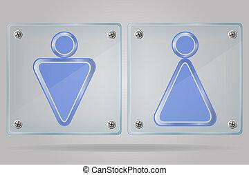 toalety, płyta, znak, wektor, kobiety, illus, przeźroczysty, człowiek