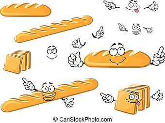 toast, baguette, długi, litery, bochenek, bread