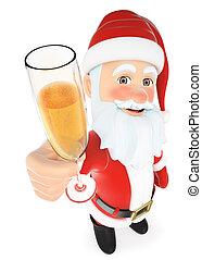 toasting, claus, szkło, święty, szampan, 3d