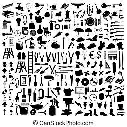 tools., ilustracja, sylwetka, wektor, różny, motywy