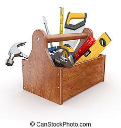 tools., młot, szarpnąć, skrewdriver, skrzynka na narzędzia, handsaw