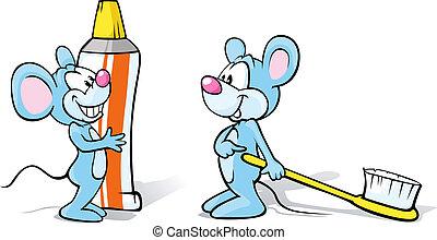 toothbrush, toothpaste, mice, dwa, ilustracja