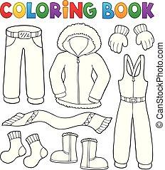 topic, kolorowanie, zima, 1, komplet, książka, odzież