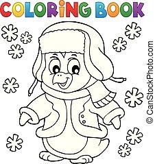 topic, kolorowanie, zima, 1, książka, pingwin