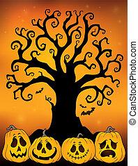 topic, sylwetka, 3, halloween, drzewo