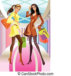 torba, dziewczyna, fason, zakupy, dwa