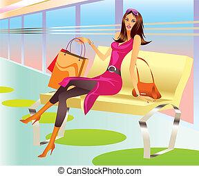 torba, dziewczyna, fason, zakupy