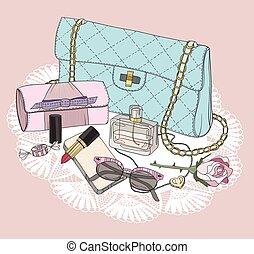 torba, makijaż, sunglasses, essentials., perfumy, tło, obuwie, jewelery, flowers., fason