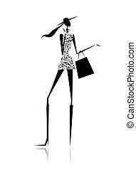 torba, sylwetka, fason, zakupy, dziewczyna