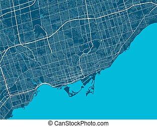 toronto, szczegółowy, królewskość, cityscape., illustration., miasto, wektor, wolny, airview, mapa