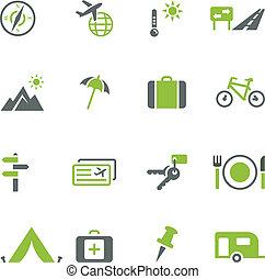 tou, podróż, zbiór, ikony