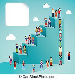 towarzyski, globalny, wzrost, sieć, ludzie