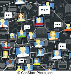 towarzyski, mówiąc, globalna sieć, ludzie