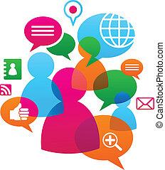 towarzyski, media, backgound, sieć, ikony