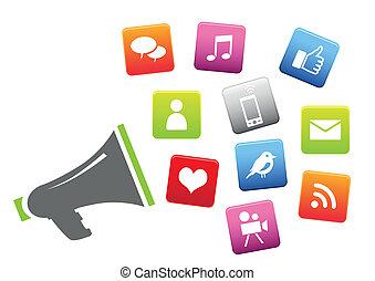 towarzyski, media, megafon, ikony