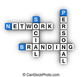 towarzyski, osobisty, znakowanie, sieć