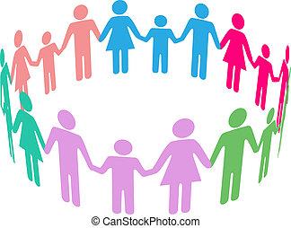 towarzyski, rozmaitość, rodzina, współposiadanie, ludzie