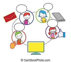 towarzyski, sieć, ludzie