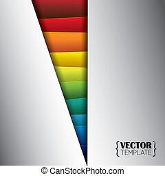 trójkąt, barwny, vecto, abstrakcyjny, -, metaliczny papier, listki, albo