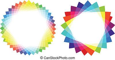 trójkąt, barwny, wektor, układa