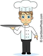 tra, dzierżawa, mistrz kucharski, sprytny, chłopiec, rysunek