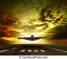 tra, gotowy, osobowa powierzchnia, bieżnie, wziąć, korzyść aeroportu, od