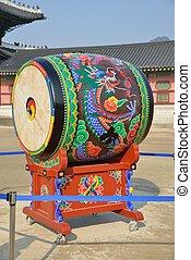 tradycyjny, buk, koreański, bęben, nazwany